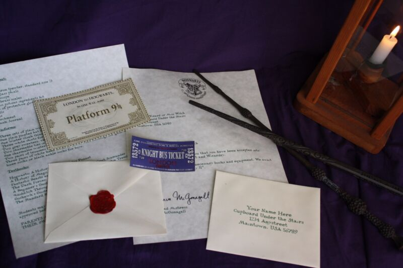 Personalized Hogwarts Acceptance Letter (Basic set-NO Express/Knightbus Tickets)