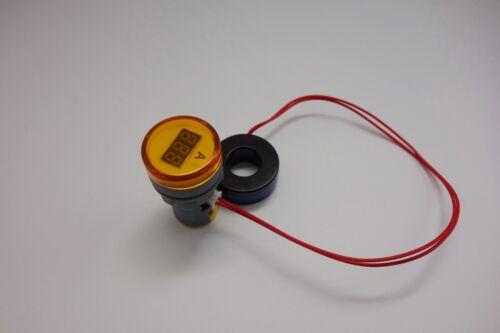 22MM Yellow  3 digital AC 0-100A LED Ammeter AMP Current meter Pilot Light type