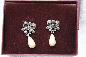 PAST TIMES STERLING SILVER MARCASITE & FAUX PEARL DROP EARRINGS NEW IN BOX