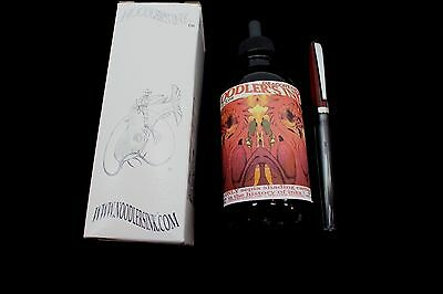 NOODLERS INK 4.5 OZ BOTTLE DRAGONS NAPALM WITH CHARLIE FOUNTAIN PEN