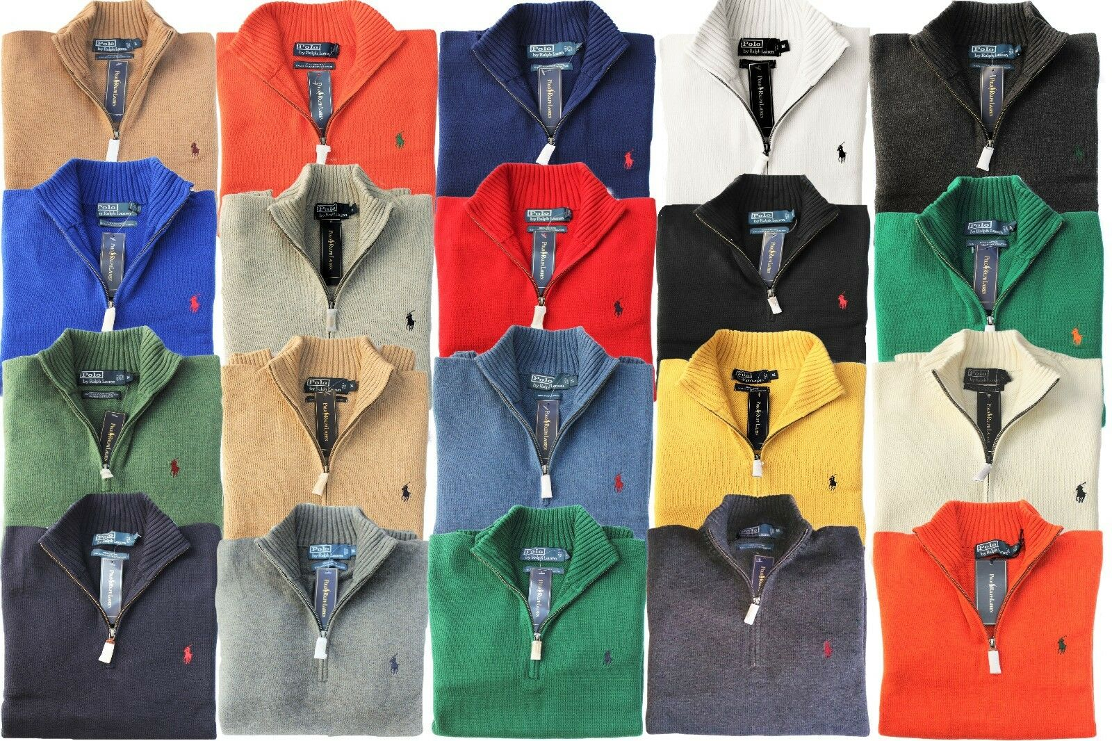 NWT Polo Ralph Lauren French Rib Half-Zip Cotton Pullover Sweater Black S M L XL