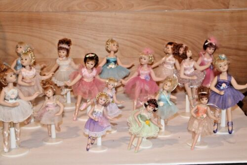 """Set 18 Full Body Porcelain Articulated Ballerina Dolls 5"""" & 8"""" Delton"""