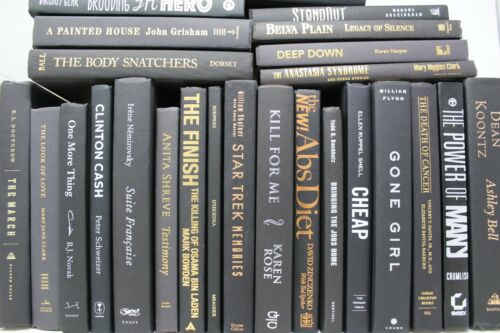 6 BLACK Hardcover Books for Decor, Staging, Props Gold Silver Copper Lettering