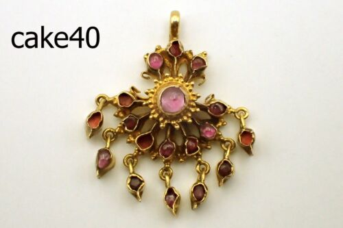 Antique Handmade Wedding Ceremony Siam Ruby 20K Real Solid Gold Pendant #cake40