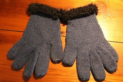 Handmade Alpaca wool gloves for women size Small royal blue and black wool