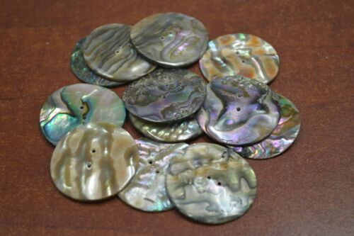 12 PCS ROUND ABALONE SHELL SEWING TWO HOLES BUTTONS 35MM #2288