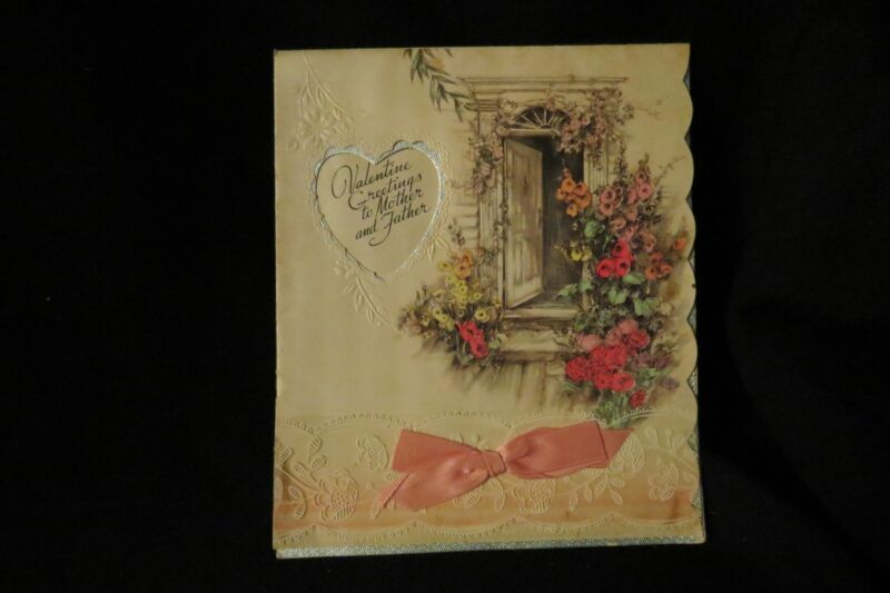 Vintage Art Deco Mother And Father Valentine Card Unsigned 1940s Rust Craft