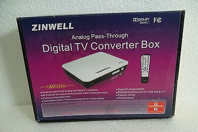 ZINWELL ZAT-950A Digital to Analog TV Converter Box w/Remote ATSC