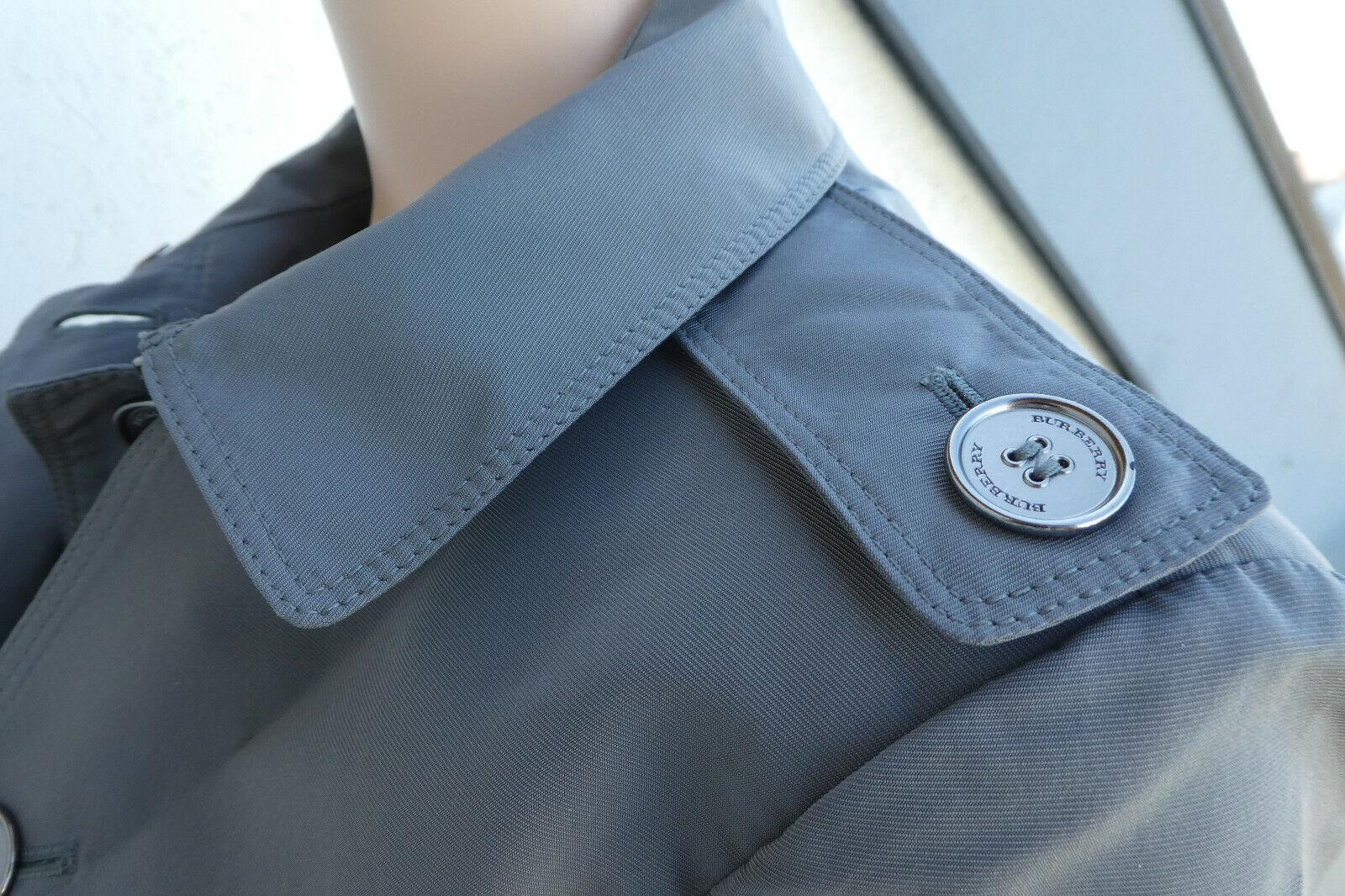 Burberry manteau plissé gris clair - gray puff ball mid length coat . fr42/uk 10