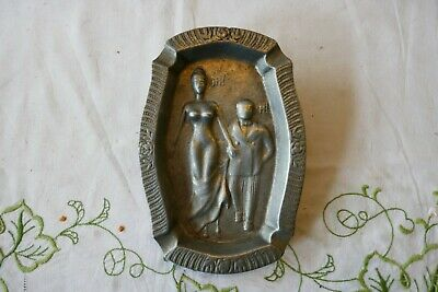Vintage Engraved dish/ashtray/trinket tray Risque 1900's Lady & Gentleman ?