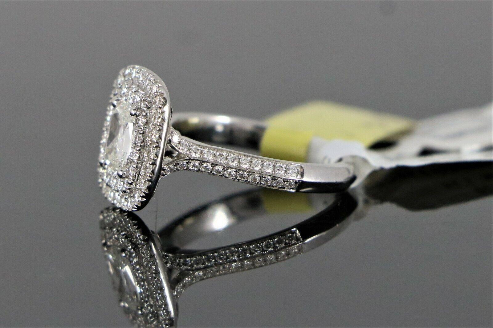 $5,150 S&S 14K White Gold 1.14ct GIA SI2 Cushion Diamond Halo Engagement Ring 6 6