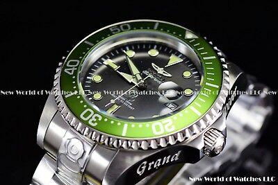 New Invicta Men's 47mm Grand Diver Automatic Green Bezel Silver Case SS Watch  Bezel Green Wrist Watch