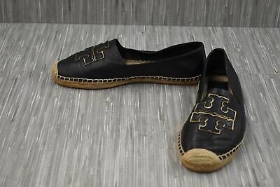 Tory Burch Ines Espadrille Nappa Leather Flats, Women's Size 11, Black