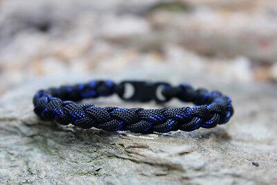 550 Paracord Thin Blue Line Survival Round Braid Bracelet - Blue Paracord