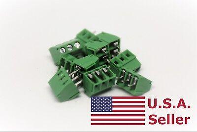 10pcs 3.5mm Universal 3 Pin 3 Poles Pcb Screw Terminal Block Connector
