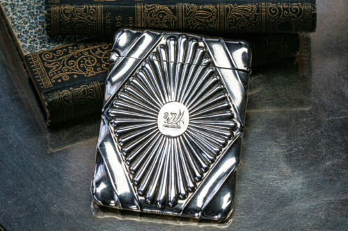 Extraordinary Victorian Antique Sterling Silver Card Case Armorial Coat of Arms