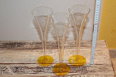 G062p- Sekt Gläser 3 Stück Trompete Look Hoch 28 cm m. gelb Fuss elegante Form