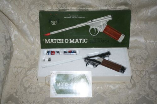 Vintage Match-O-Matic BUTANE GAS Match Pistol LIGHTER Original Box MIB all parts