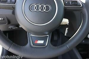 audi a1 a3 a4 a5 a6 a7 q3 q5 s line steering wheel badge sticker logo s line rs ebay. Black Bedroom Furniture Sets. Home Design Ideas