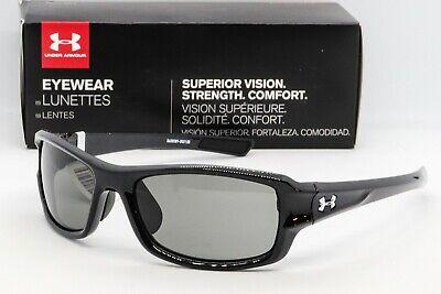 NEW UNDER ARMOUR EDGE SUNGLASSES Shiny Black frame/Grey lens UA 8600029 ()