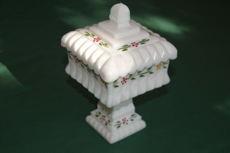 Wedding Bowl Milk Glass Westmorland Glass Square with Lid