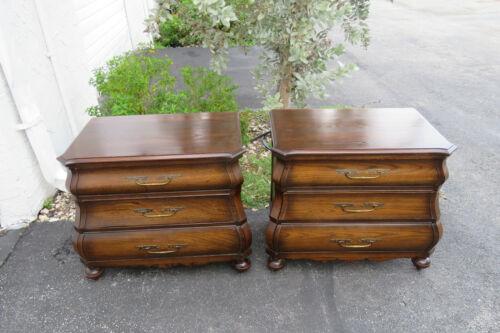 Hollywood Regency Bombe Oak Pair of Large Nightstands Side End Tables 1055