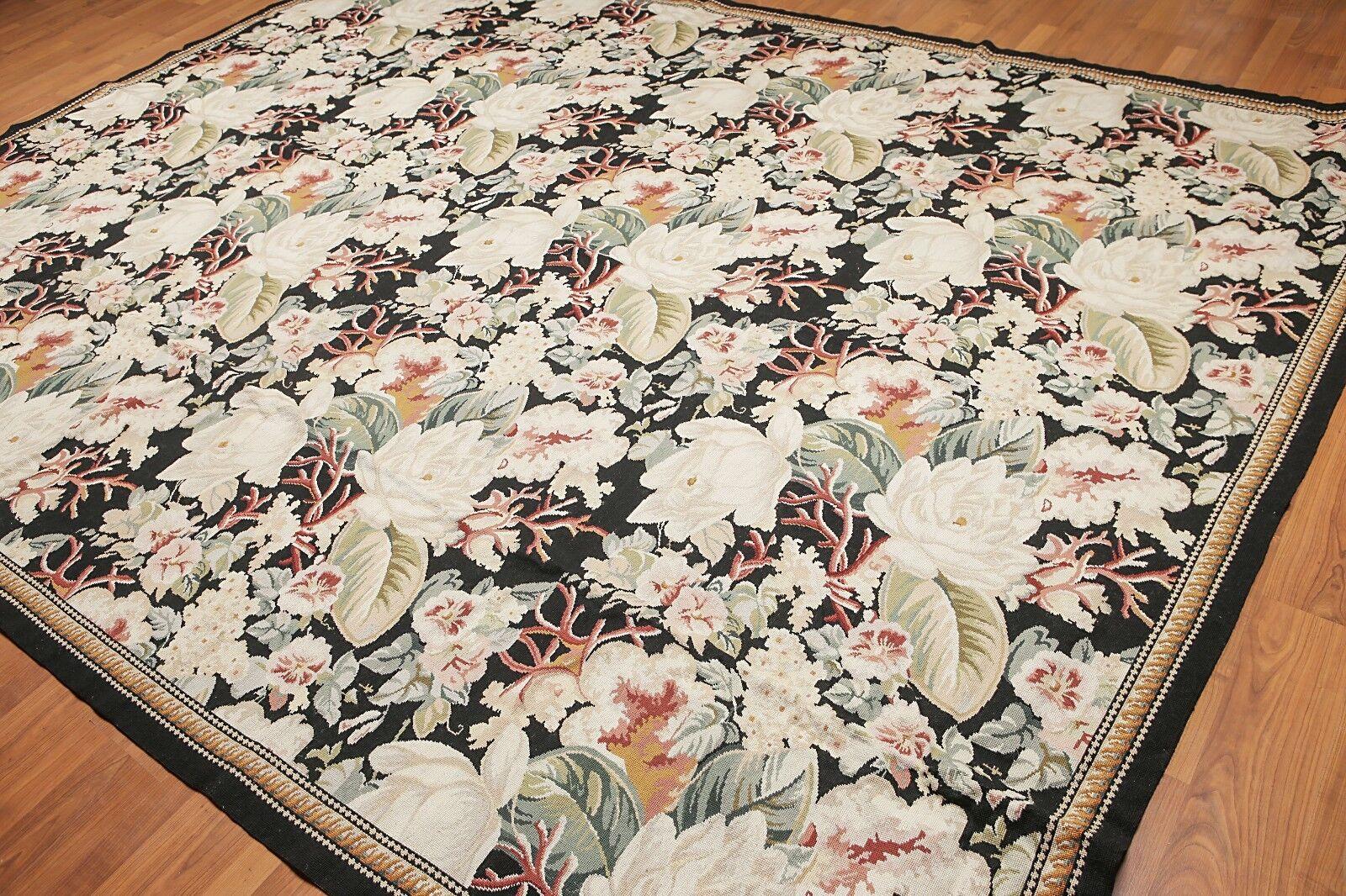 9' x 12' Asmara Hand woven Wool French Needlepoint Oriental