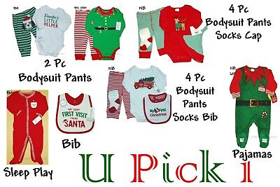 My 1st Christmas Outfit Holiday Boys Bodysuit Pants Socks Bib Set day Santa  - Christmas Outfit Boys