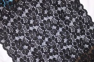 1 yard Black Floral lingerie craft sewing galloon STRETCH LACE 11