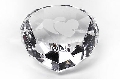 I LOVE YOU MUM crystal heart CLEAR, Mothers Day Gift - New In Gift Box