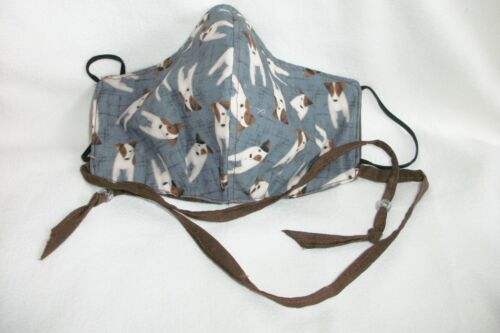Hand made Jack Russell Terrier reversible face mask Blue/brown