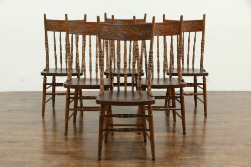 Set of 6 Antique Ash Pressback Country Dining Chairs, Cherry Carving #33209