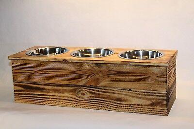 Triple Large Elevated Dog Dish Large 3 Bowl Feeding Stand  Dog Feeder