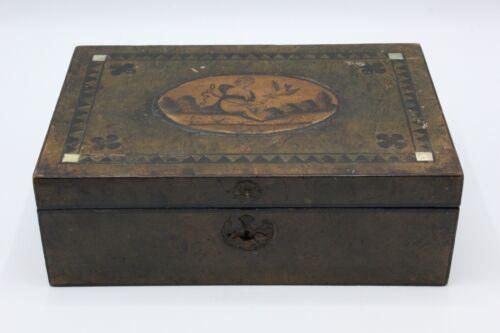 Georgian Era Wood Needlework Box w/ Hidden Compartment and Hand Painted Scene