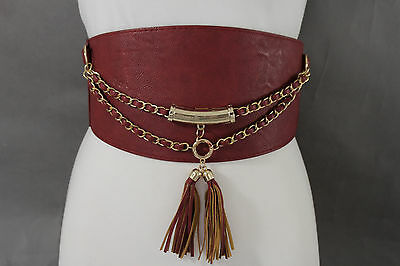 New Women Hip High Waist Gold Metal Chain Wide Fashion Corset Belt Red Color S M