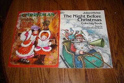2 VINTAGE CHRISTMAS COLORING BOOKS UNUSED 1976 AND 1981 - Christmas Coloring Books