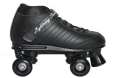Lightning Strike Black Quad Roller Skates - UK size 7 - Disco Derby Rollerskate