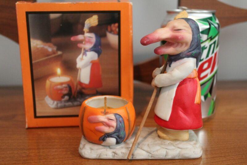 Vintage Ceramic Kitchen Witch Strega Nona with Cauldron Halloween Decor in Box