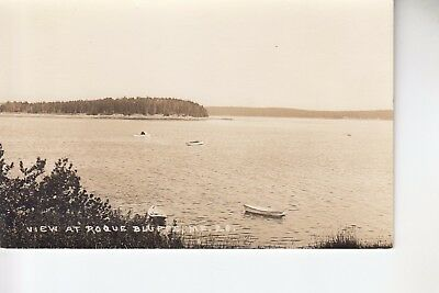 Eastern IL Real Photo Postcard Boating near Roque Bluffs ME  28