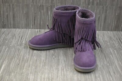 Koolaburra By UGG Kids Cable Suede Fringe Boots, Little Girl's Size 3, Grape NEW