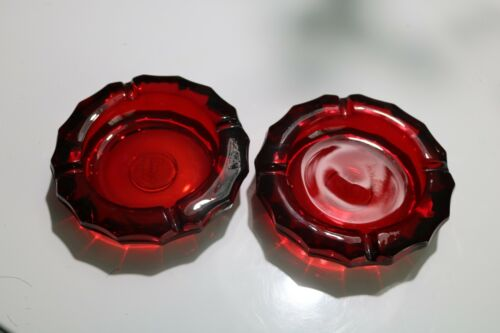 2 Vintage Fostoria Red Ruby Coin Glass Ashtray