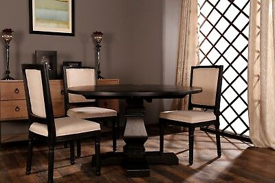 Classic Rustic Style Round Dining Room Kitchen Table Distressed, Black ()