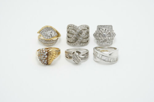 LOT of 6 Sterling Silver Clear CZ Fashion Rings 42.9g