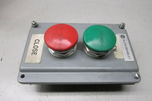 Allen Bradley 800T-D Green & Red Mushroom Head Push Button w/ Control Cover