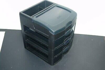 Black 3 Smoke Gray Clear Drawers Desktop Organizer With Top Storage Bin