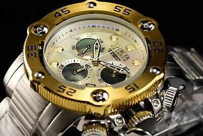 Invicta Mens 52mm Propeller Reserve Sea Hunter Swiss White Mother of Pearl Watch