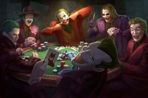 Poster 18inx12in of Jokers Playing Cards with Batman Cards Joker from all times