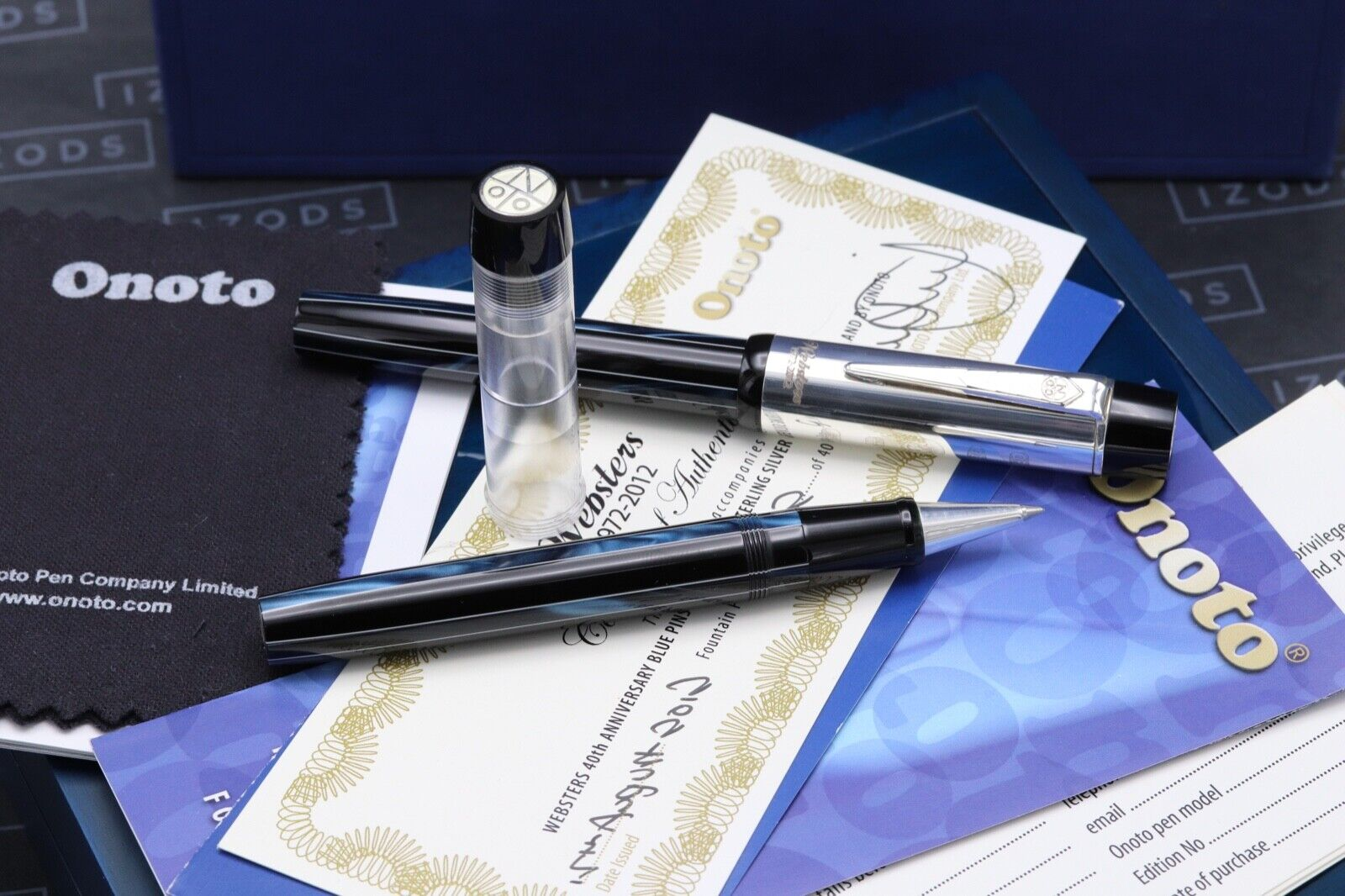 Onoto Black Blue Websters Silver LE Fountain / Rollerball Pen Set - UNUSED 5