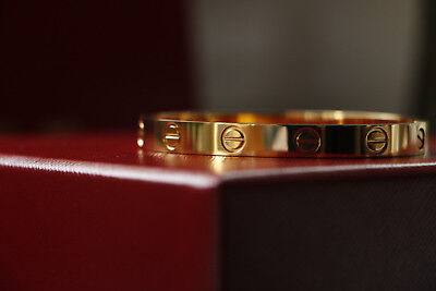 Brand New Cartier Love Bracelet 19 18K Yellow Gold Box Certificate Tool