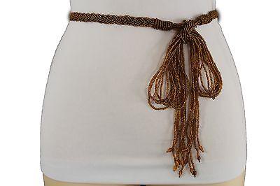 New Women Fashion Tie Belt Hip High Waist Brown Beads Long Fringes Chic Size S M